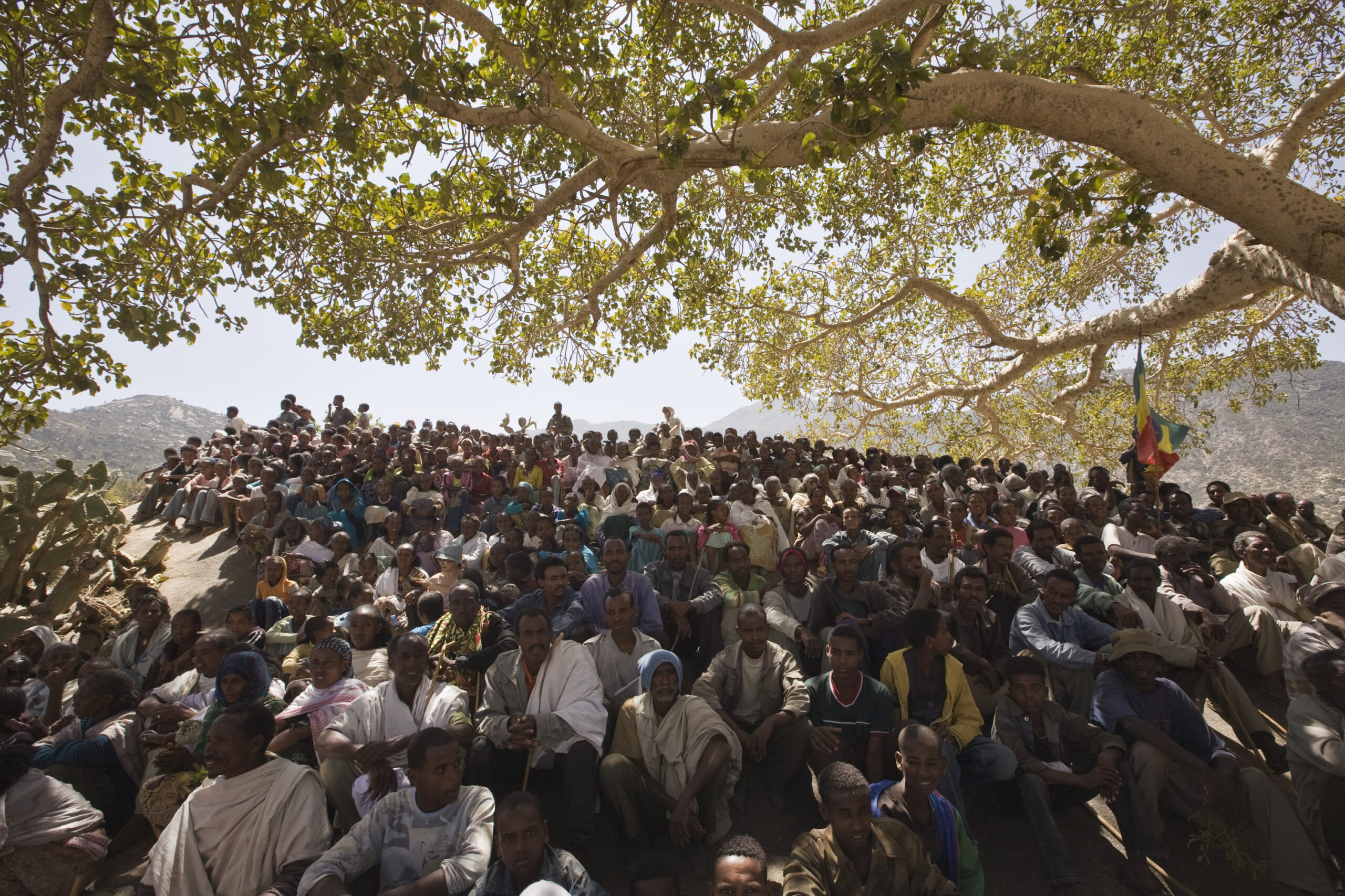Crowd celebrating the inauguration of a water pump in Wora Atle, Tigray, Ethiopia.